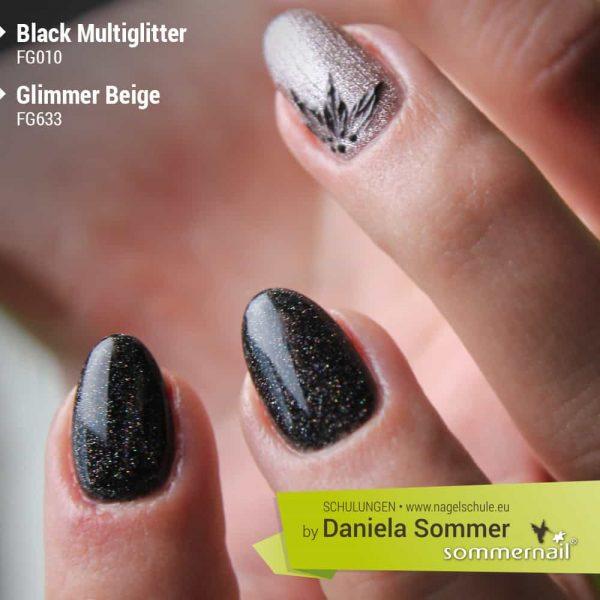 Farbgel Black Multiglitter + Glimmer Beige