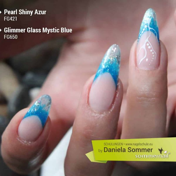 Pearl Shiny Azur, Glimmer Glass Mystic Blue