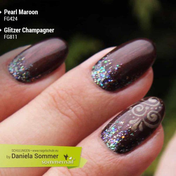 Farbgel Pearl Maroon, Glitzer Champagner