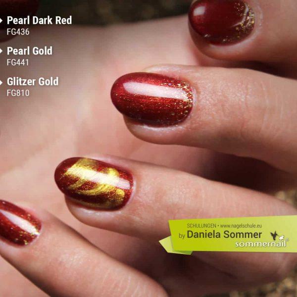 Farbgel Pearl Dark Red und Gold