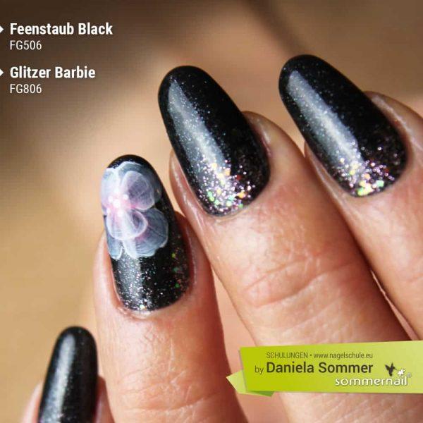 Farbgel Feenstaub Black, Glitzer Barbie