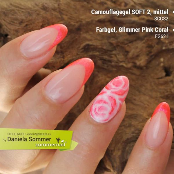 Camouflage SOFT2, Farbgel Glimmer Pink Coral
