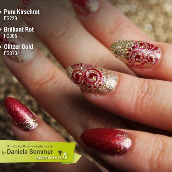 Farbgel Pure Kirschrot, Farbgel Brilliant Rot und Glitzer Gold