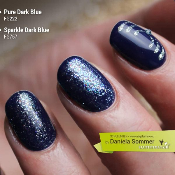 Farbgel Pure Dark Blue, Farbgel Sparkle Dark Blue