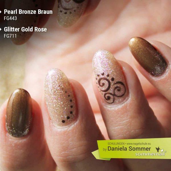 Farbgel Pearl Bronze Braun, Glitter Gold Rose