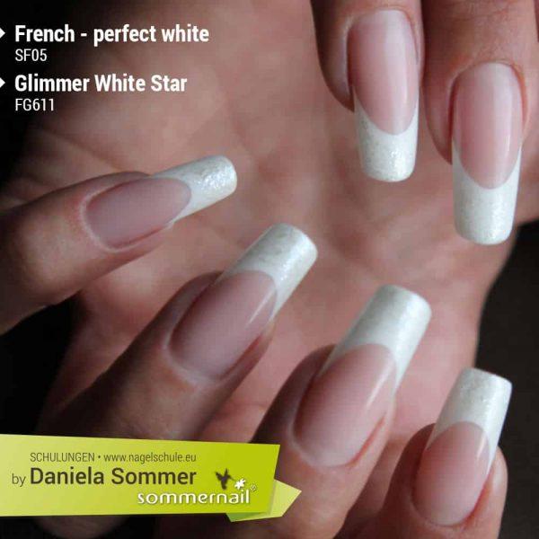 French Perfect White und Farbgel Glimmer White Star