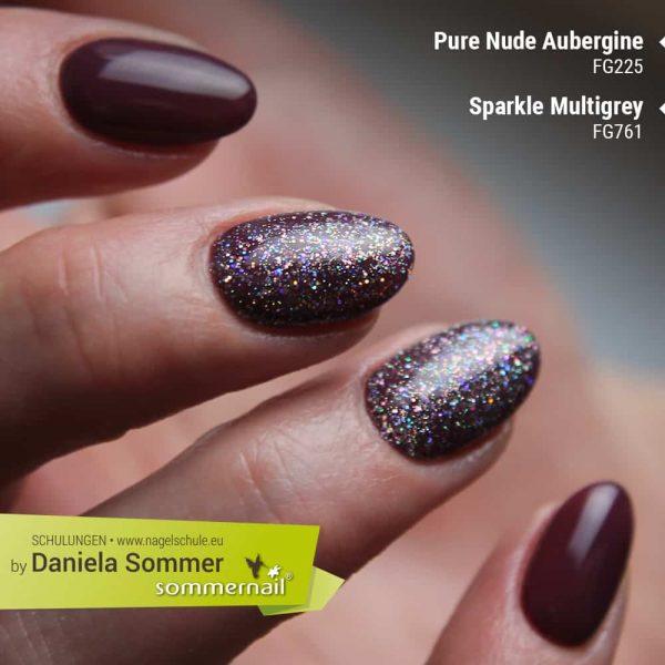 Farbgel Pure Aubergine, Farbgel Sparkle Multigrey